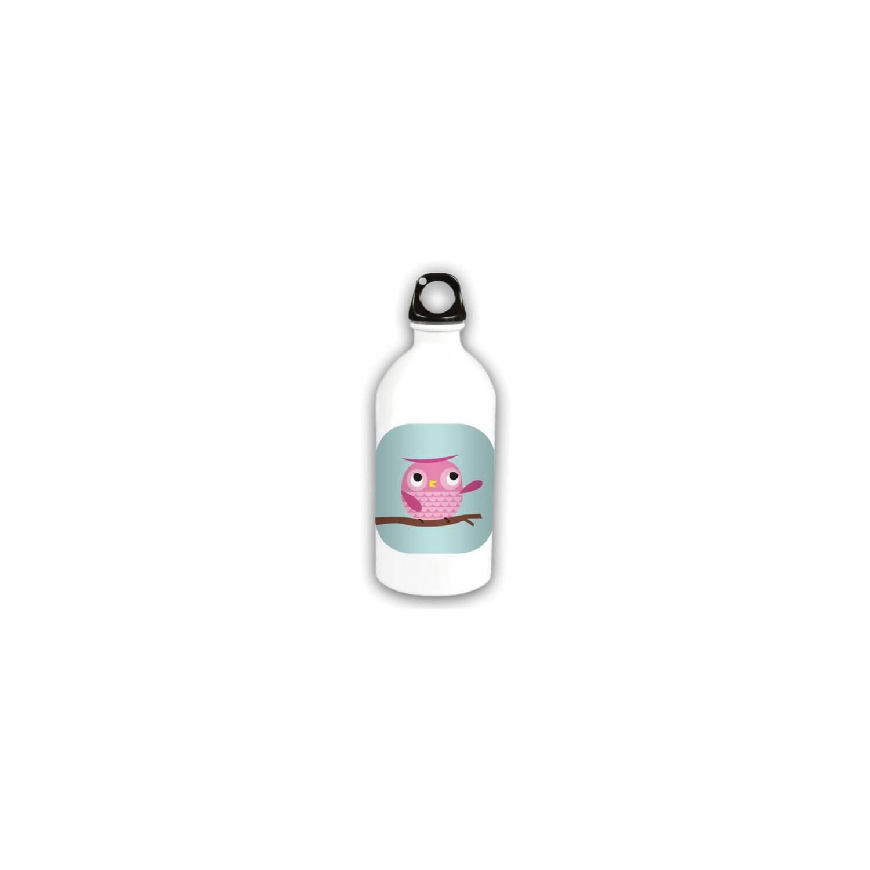 trinkflasche aus alu 460ml mit eulen motiv von luscia mar kindertrinkflasche mit sportverschluss. Black Bedroom Furniture Sets. Home Design Ideas