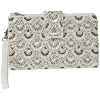 The moshi Mini-Clutch creme mit Perlen bestickt