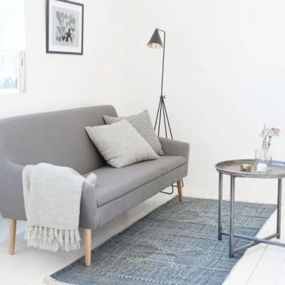 house doctorteppich grau wei iza 160x230cm baumwolle. Black Bedroom Furniture Sets. Home Design Ideas